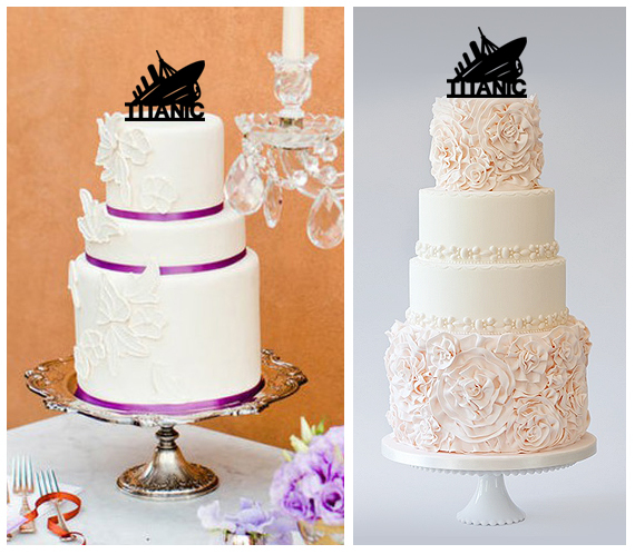 WeddingBirthday Cake TopperCupcake Toppersilhouette TITANIC Package 11 Pcs