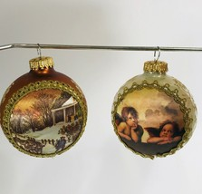 Christmas Ornament Germany Glass Set Of 2 Dated 1995 & 2000 Angels Home ... - $19.34