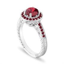 Platinum Garnet Engagement Ring, 1.55 Carat Halo Pave Certified Handmade... - $2,210.00