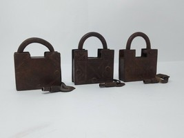Antique Iron Spring System Padlock Hand Crafted Carving Pad Lock 2pc Col... - $210.38