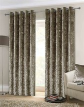 LUXURY THICK CRUSHED VELVET MINK BEIGE LINED ANNEAU TOP WOVEN CURTAINS 6... - $77.37