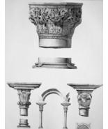 ITALY Architecture Column Capitals Venice & Aosta - SUPERB 1843 Antique ... - $22.46
