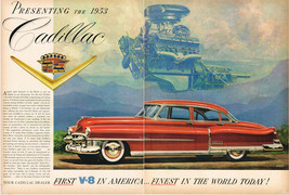 Vintage 1953 Two Page Magazine Ad Cadillac First V8 in America Finest in World - $5.93