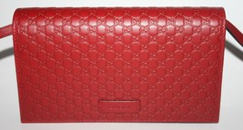 NIB GUCCI GG MICRO GUCCISSIMA CROSSBODY WALLET IN RED LEATHER 466507 - £380.02 GBP