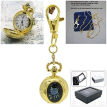 Gold Ladies Vintage Pendant Watch Black Onxy 2 Ways Key Chain Necklace G... - $18.49