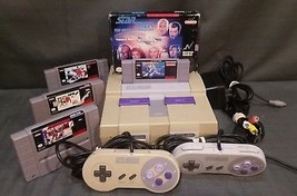 Super Nintendo Entertainment System SNES Console Bundle +5 Games Incl Me... - $128.70