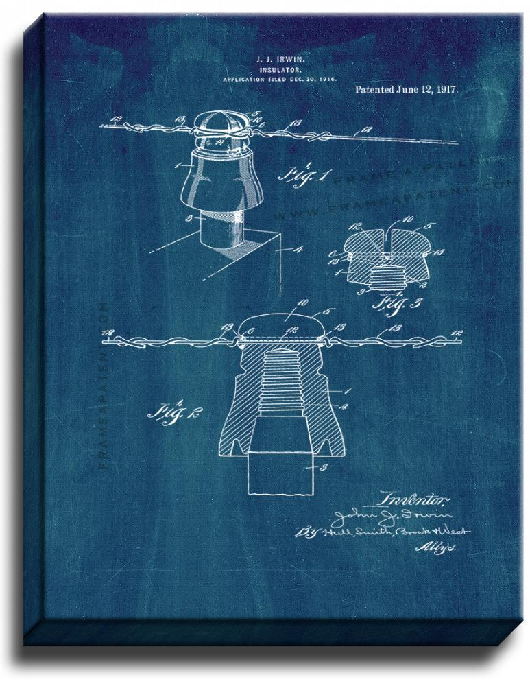 Primary image for Insulator Patent Print Midnight Blue on Canvas
