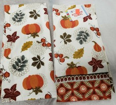 "2 SAME PRINTED TERRY TOWELS (15"" x 25"") LEAVES, PUMPKINS & ACORNS by AM - $10.88"