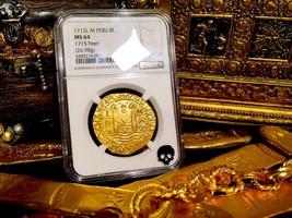 PERU 1712 GOLD 8 ESCUDOS DOUBLOON COIN NGC 64 FIN KN! 1715 PLATE FLEET S... - $39,500.00