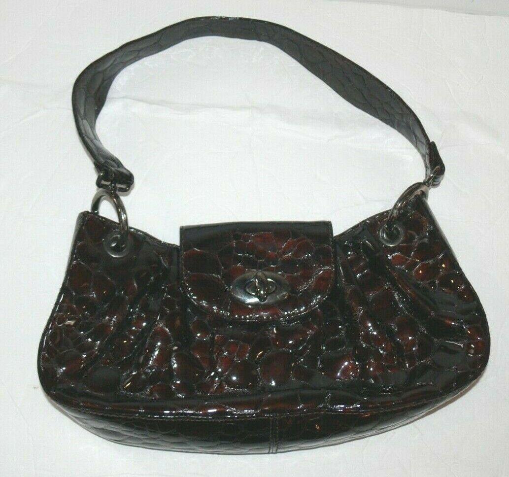 STUART WEITZMAN Crocodile Textured Embossed Brown Shoulder Bag Handbag mc - $39.99
