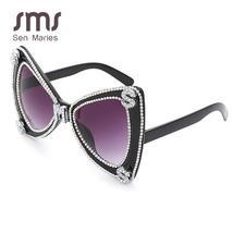 Sen Maries Diamond Sunglasses Women  Luxulry Brand  Butterfly Oversized Sunglass image 6