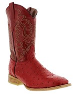 Mens Red Ostrich Quill  Pattern Leather Western Wear Cowboy Boots Square... - €92,80 EUR