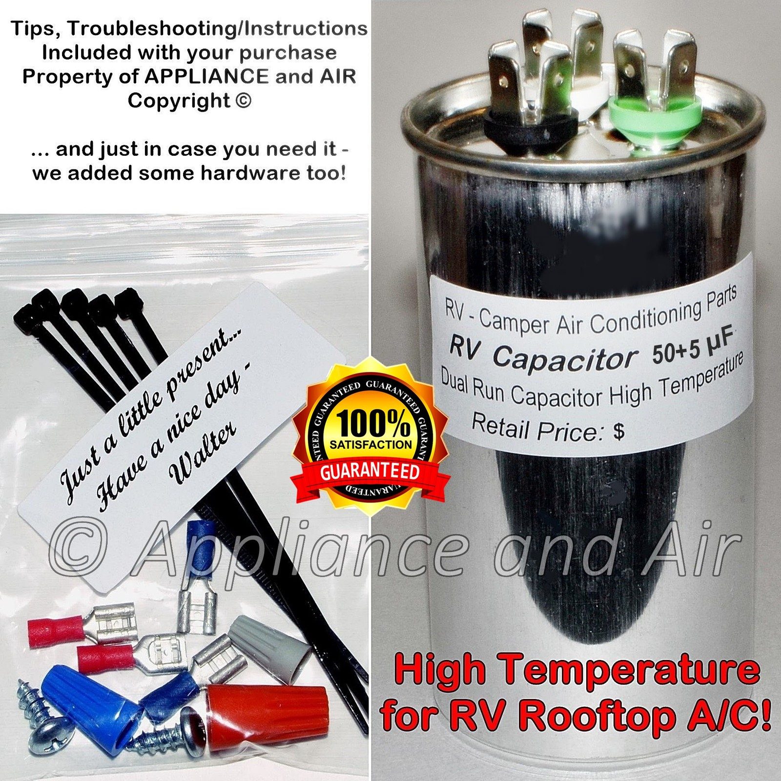 50 5 mfd rv capacitor and instructions