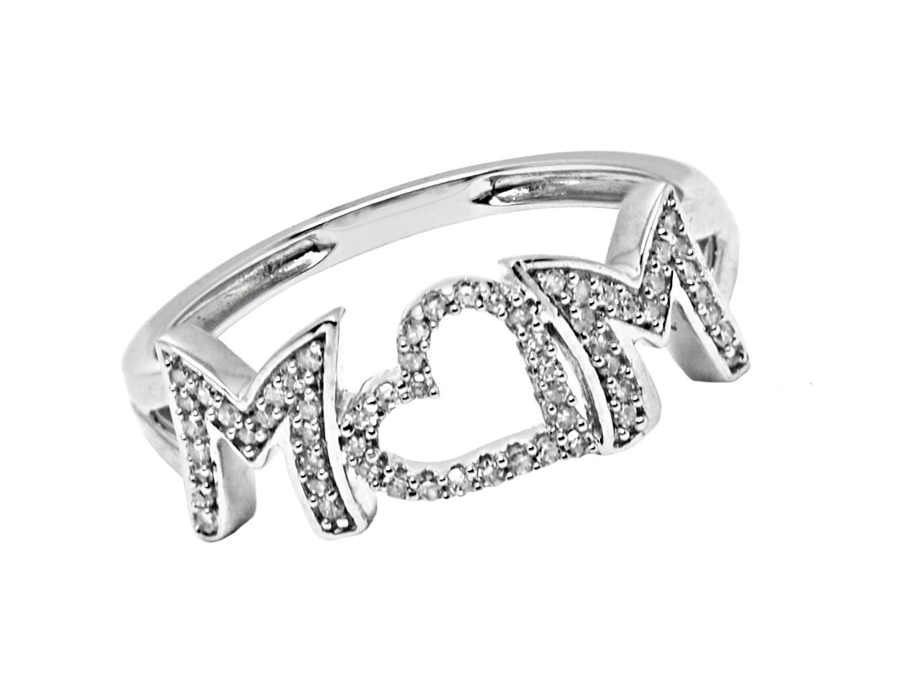 10K Gold 0.15 Ct Mom, Mothers Diamond Ring (white-gold)