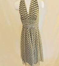 MAGGY LONDON 100% Silk Brown Polka-Dot Halter Dress Size 8 - $17.10