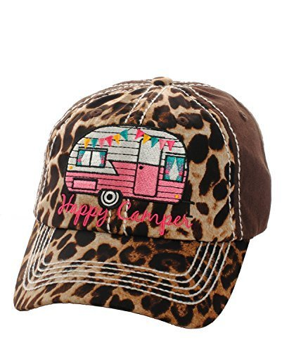Embroidered Happy Camper Leopard Print Baseball Hat (Pink)