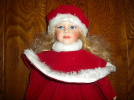 """Christmas Porcelain 16"""" Doll Christmas Dress & Hat Cloth Body on Stand - $39.59"""
