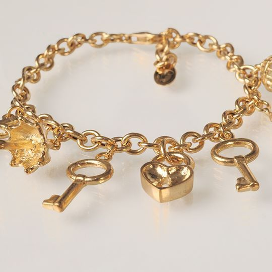 Silver Bracelet 925 Foil Gold with Pendants by Maria Ielpo Made in Italy