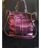 Plinio Visona Metallic Purple Leather Crossbody / Tote Bag, EUC - $83.30