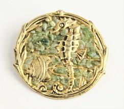 ESTATE VINTAGE Jewelry KITSCHY RETRO CRUSHED JADE SEA LIFE BROOCH  - $25.00