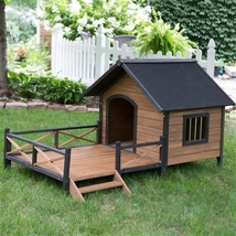 Large Solid Wood Outdoor Dog House with Spacious Deck Porch - $537.90