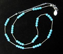 TURQUOISE- BLUE Glass Beads Necklace Vintage Silvertone Tubular Liz Clai... - $12.99