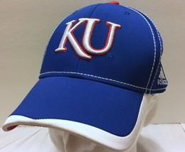 Adidas University of Kansas Fitted Stretch Hat Sz L/XL NCAA Jayhawks Basketball - $29.44