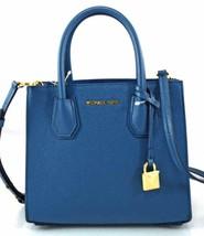 AUTHENTIC NEW NWT MICHAEL KORS MERCER $278 BLUE LEATHER MED MESSENGER BAG - $158.00