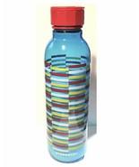 Starbucks Water Bottle Summer Aqua Blue Striped Bottle 18 fl oz Travel C... - $14.25
