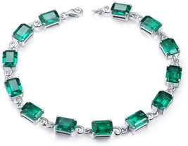Aurora Tears Green Stone Bracelet Women 925 Sterling Silver Crystal Tenn... - $107.08