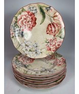 "Set of 7 PTS International DESIREE 222 Fifth 11"" Dinner Plates Floral Fl... - $98.99"