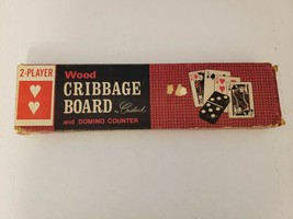 Vintage Crisloid Wood Cribbage Board Game with Box and 6 Pegs - $5.99