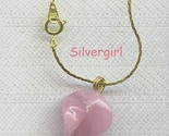 Creamy pink glass pendant on 18 in gold chain thumb155 crop