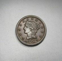 1847 Large Cent AU Coin AI085 - $149.90