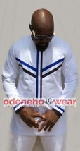 Odeneho Wear Men's White Polished Cotton Top/Bottom With Design. African Wear - $123.75+