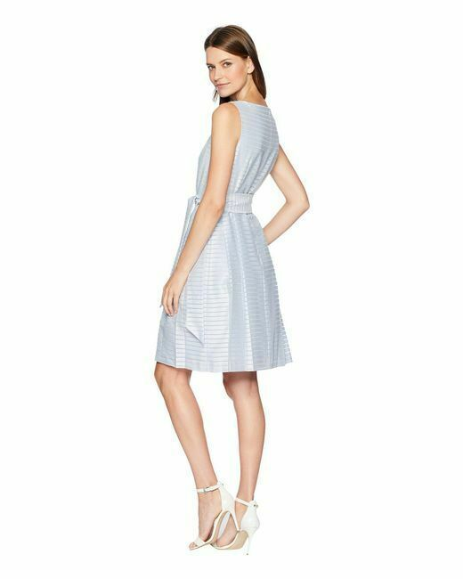 NWT  Anne Klein Women's Blue Fit & Flare Dress with Sash Size 16