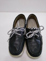 Sperry Top Sider Leather Boat Shoes Black White Silver Lace Flats Size 6.5 - $16.60