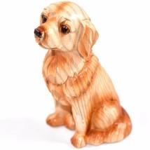 "Faux Wood Pattern Resin Sitting Golden Retriever Puppy Dog 3.5"" Figurine - $5.93"