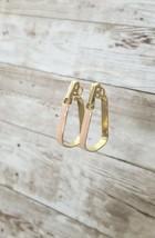 Vintage Clip On Earrings Peach & Gold Tone Unusual Shaped Retro Hoops - $13.99