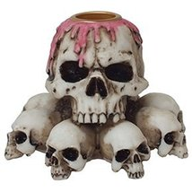 3.75 Inch Multiple Skulls Hand Painted Resin Candle Holder, Beige - $15.99