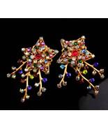 Vintage 1940's Star earrings - golden rhinestone spray - statement clip ... - $95.00