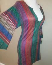 Vintage 70s Offspring By Trisha Sayad Lana Vergine Multicolore Knit Tuni... - $60.26