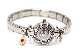 Minnie Mouse Murano Glass Charm Watch by Walt Disney Collection Swiss Mo... - $372,68 MXN