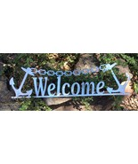 """Anchor Welcome Metal Wall Art Sign  19 1/2"""" x 5 1/2"""" Polished Steel - £21.23 GBP"""