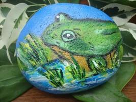 Frog pebble art - hand painted stone, keepsake, garden ornament, paperwe... - $16.93