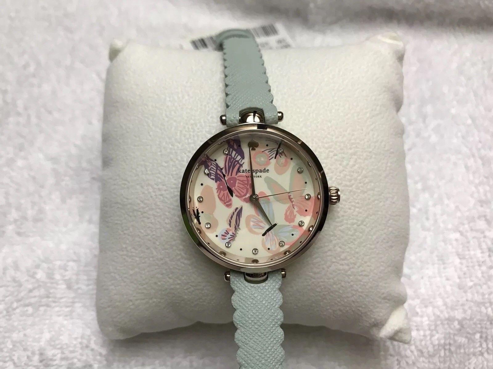 Kate Spade Women Holland Butterfly Mint Leather Strap 34mm Watch KSW1414