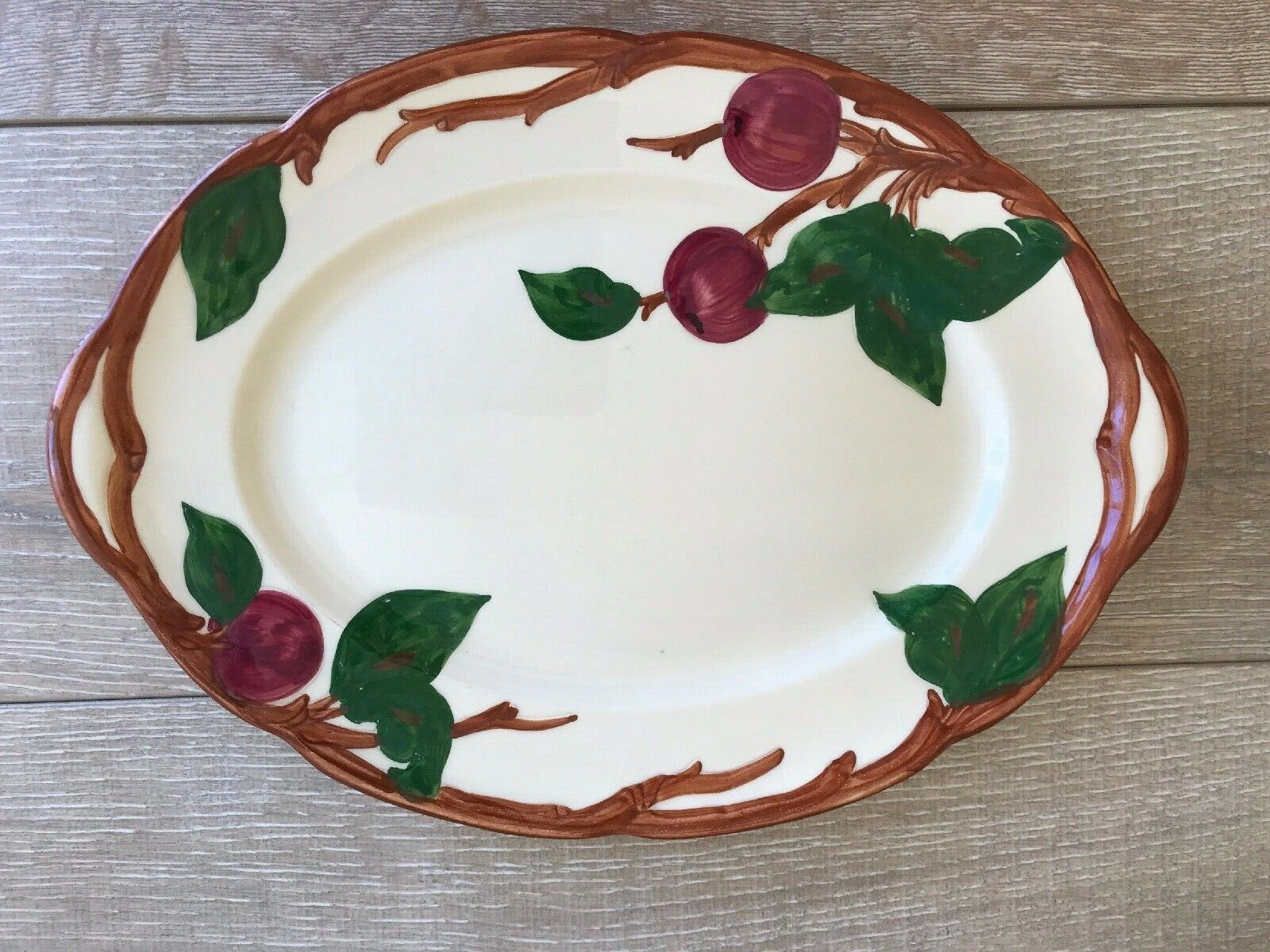 "Vintage Franciscan Apple Oval Serving Platter 14"" x 10"" Made In California"