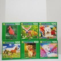PuzzleBug Lot of 6 Animals 100 PC Jigsaw Puzzles Horse Dog Unicorn Fawn ... - $24.00