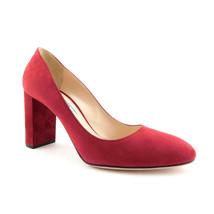 New PRADA Size 7 Cranberry Red Suede Block Heels Pumps Shoes 37 Eur - $249.00