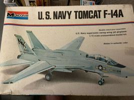1973 Monogram 1/72 Scale Model Airplane Kit No.5992 US NAVY TOMCAT F-14A... - $11.88
